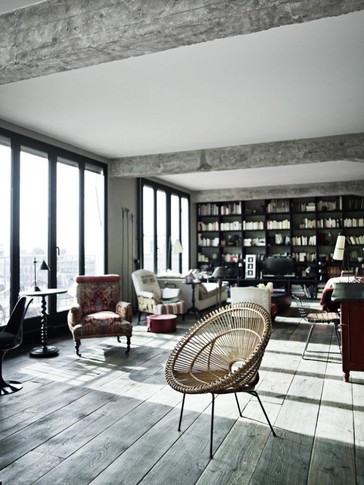 un loft boh me paris par antonio virga architecte. Black Bedroom Furniture Sets. Home Design Ideas