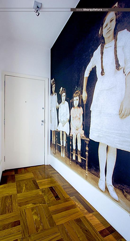 Projet de l'agence d'architectureidearquitetura    Entrée avec papier-peint panoramique