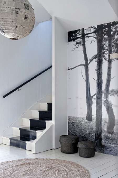 Entrée avec papier-peint panoramique : bord de mer en noir et blanc