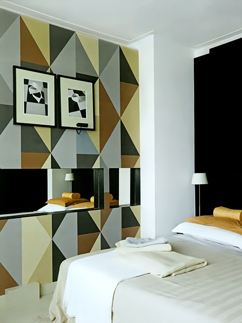 s lection de peintures murales g om triques. Black Bedroom Furniture Sets. Home Design Ideas