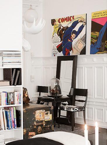 Créer le contraste ... pour moderniser l'ancien | Appartement en noir et blanc à Stokholm
