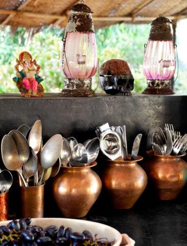 La maison de Jade Jagger à Goa // Cuisine d'extérieur en mode bazar chic