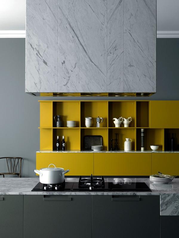 Idée de cuisine : jaune et gris
