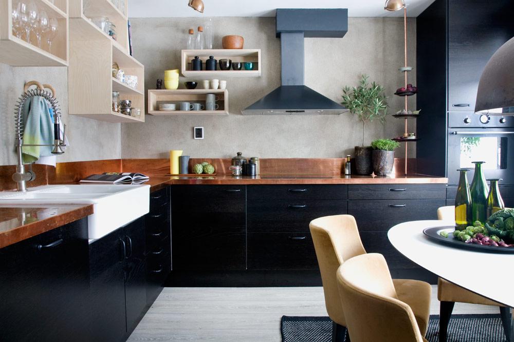 Idée de cuisine : noir et cuivre