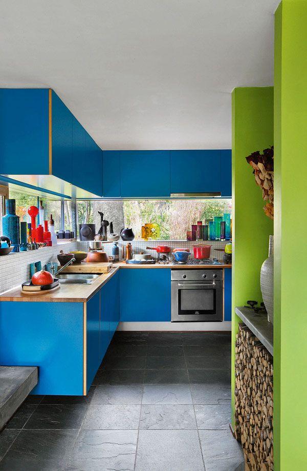 Idée déco : Une cuisine bleu et vert