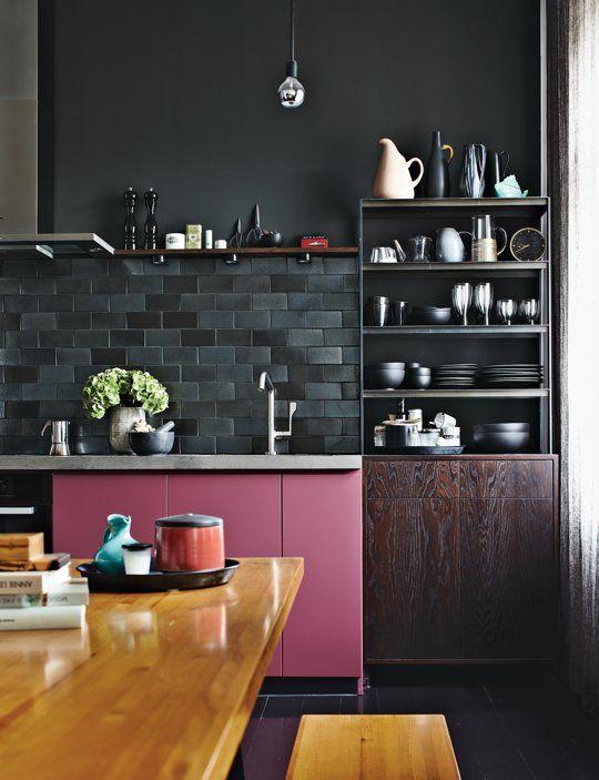 Idée de cuisine : noir et rose