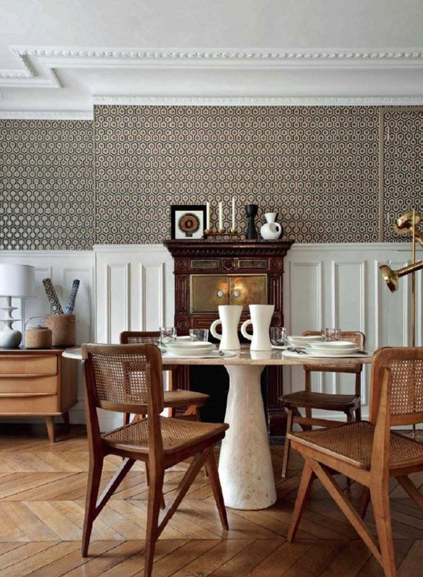 Exemple d'intérieur avec du papier-peint géométrique || Hick's hexagon