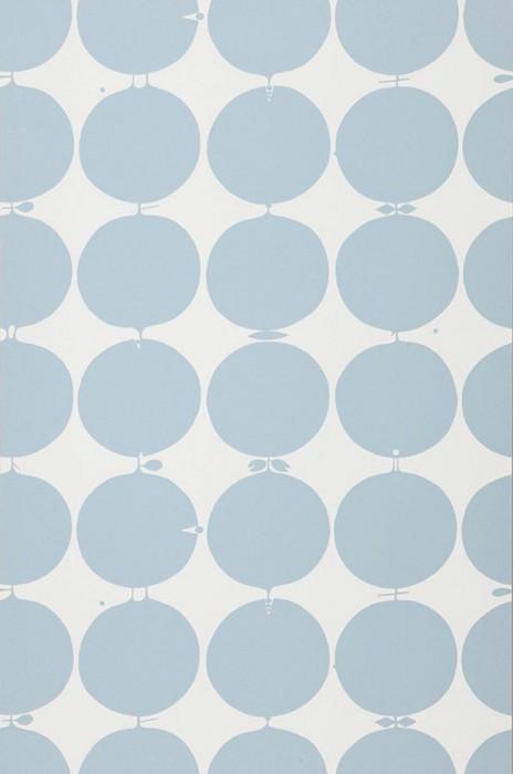Papier-peint à pois sous forme de pomme bleu clair sur fond blanc