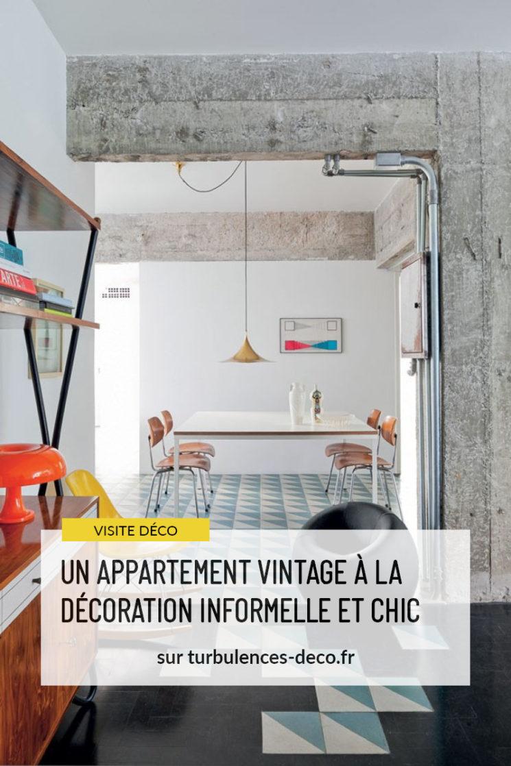 Un appartement vintage à la décoration informelle et chic à retrouver sur Turbulences Déco