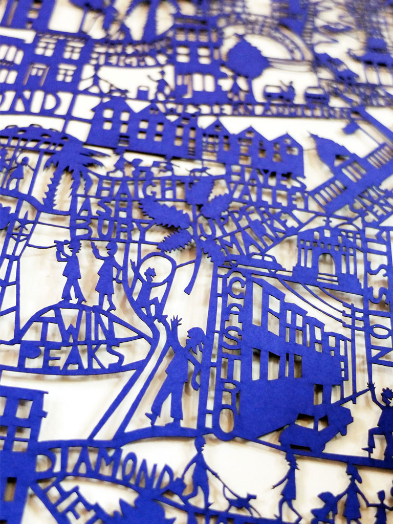 Famille Summerbelle - San Francisco Paper cut map