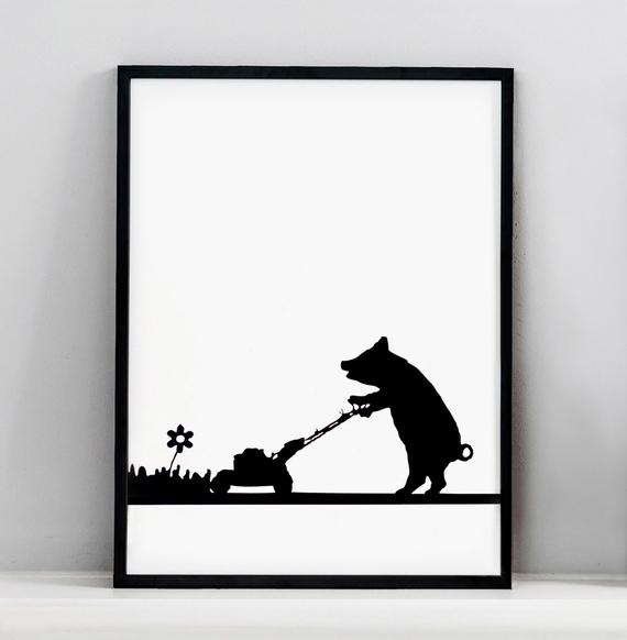HAM - Mowing pig print