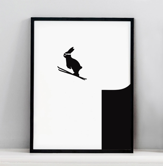 HAM - Skiing jumping rabbit print