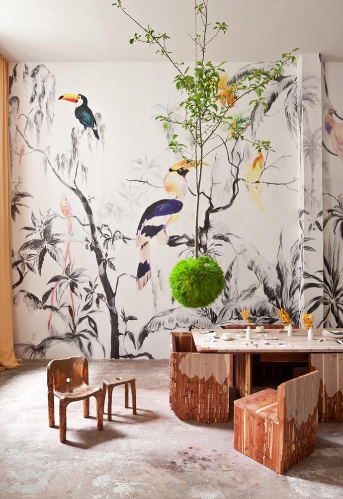 Fresque Murale « Tropical birds » par l'artiste argentinPablo Piatti