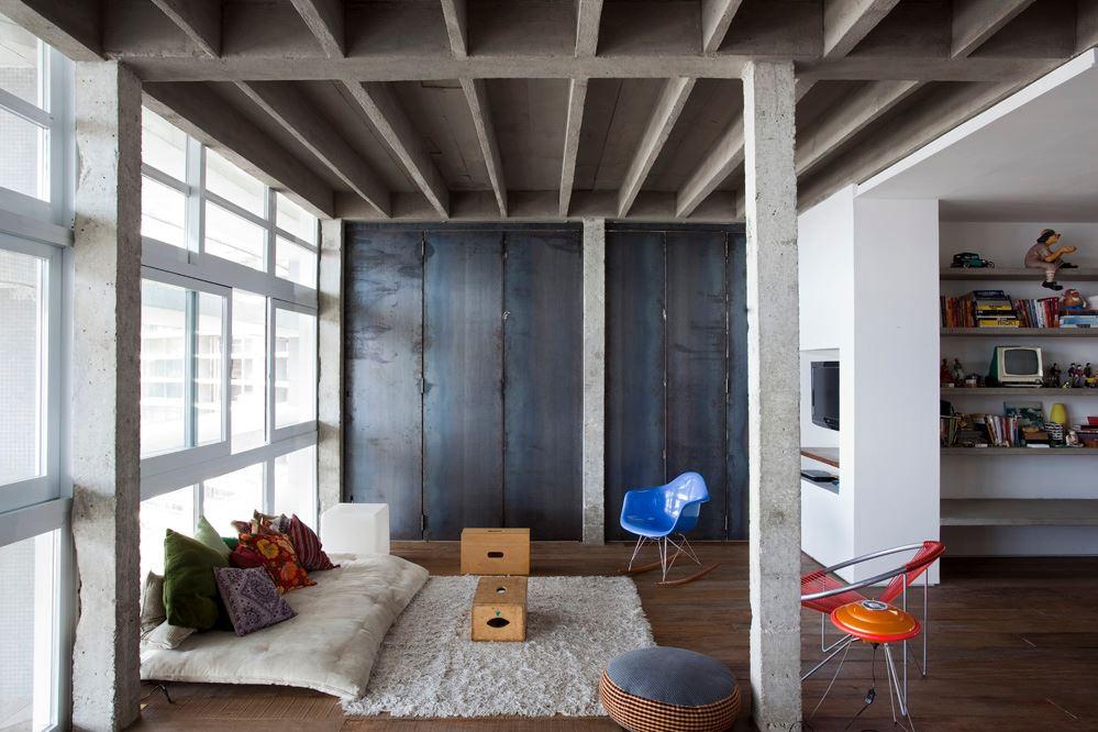 Palette de matière : Aspect ciment et béton brut | Copan apartment São Paulo, Brazil - Felipe Hess & Renata Pedrosa - Plafond en béton