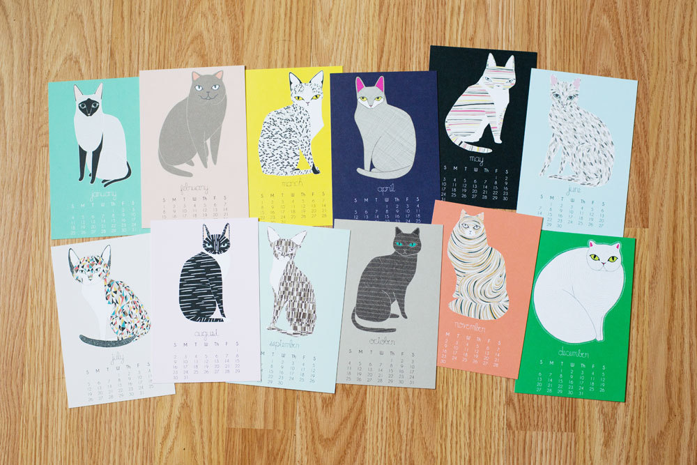 Cat Desk Calendar design Gingiber