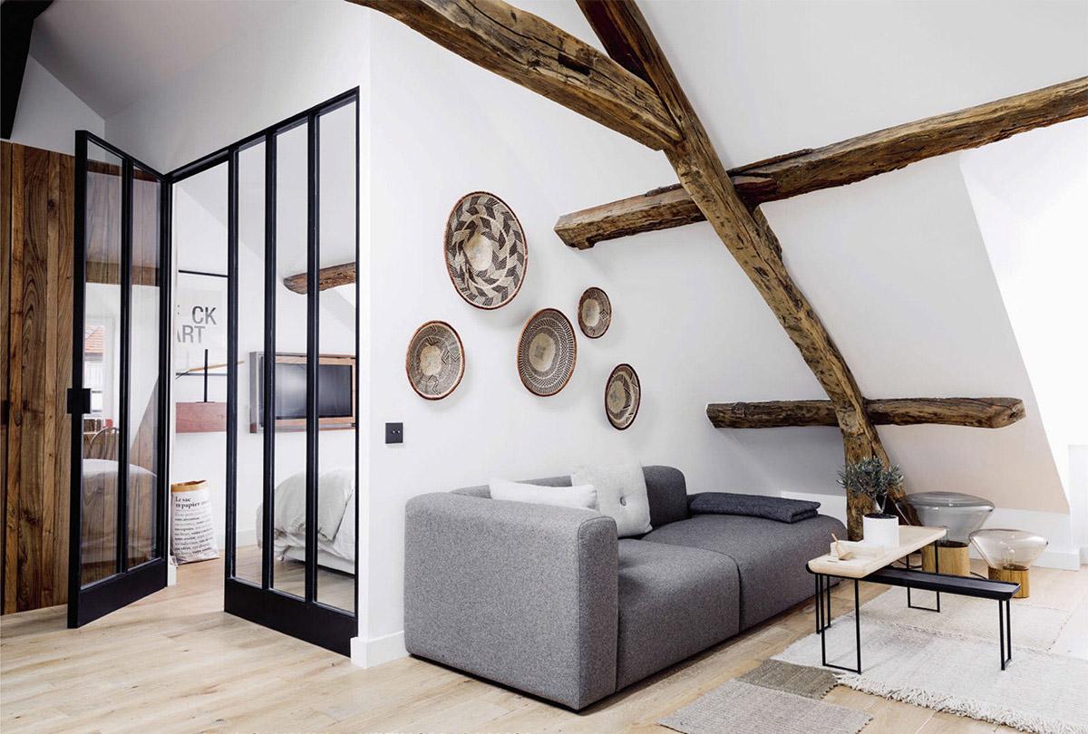 sous les combles un appartement sous les toits paris. Black Bedroom Furniture Sets. Home Design Ideas
