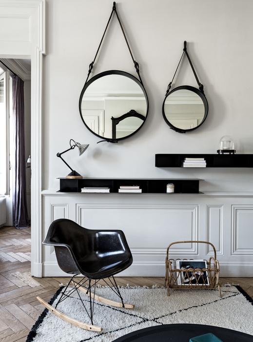 Style ethnique en blanc et noir par maison hand - Deco miroir salon ...