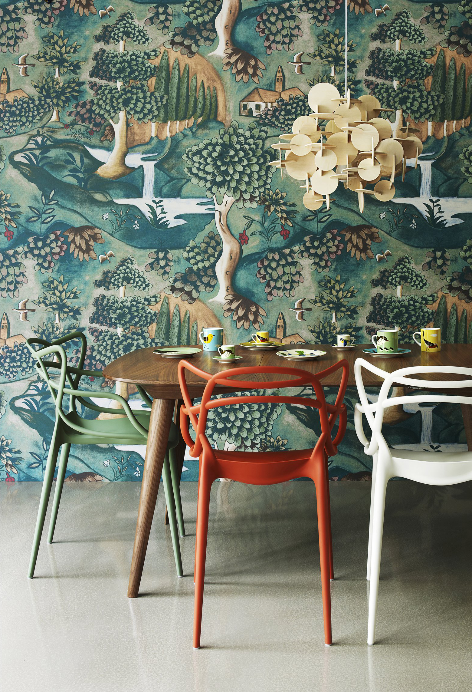 Zoffany Verdure wallpaper by Melissa White + Masters chairs