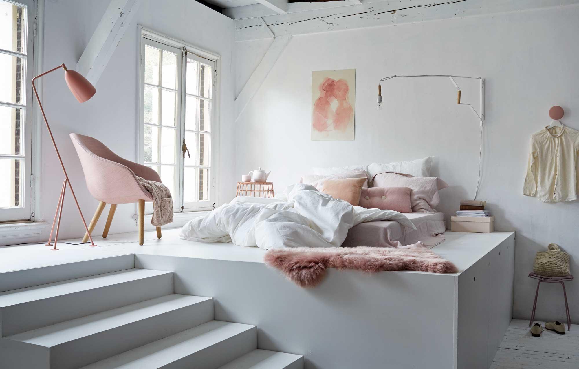 Chambre blanche et rose via VTwonen