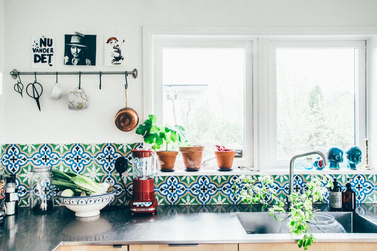 La maison de Kristin Lagerqvist-Krickelin    crédence en carreaux de ciment