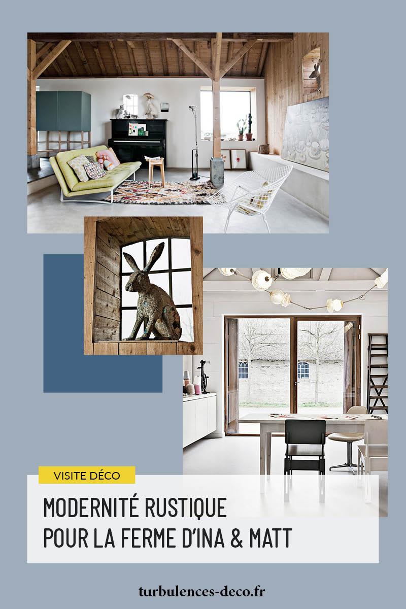 Grange rénovée par les architectes néerlandais Ina Matt, rénovée dans un style moderne rustique à retrouver sur Turbulences Déco