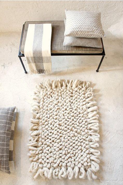 Tapis en grosses mailles de laine blanche - Shop mexchic