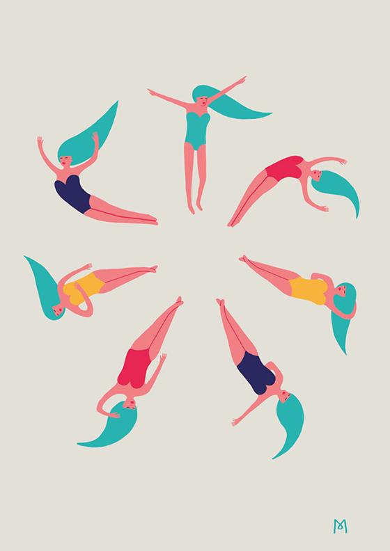 Illustration de Michaela Picchi, représentant des baigneuses
