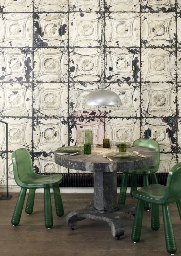 Sélection de papiers-peints en trompe-l'œil || XLNL - Brooklyn tins wallpaper by Merci