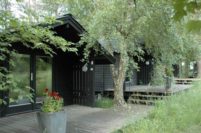 Une maison de campagne en blanc et noir sur fond de verdure // Cabane en bois noir