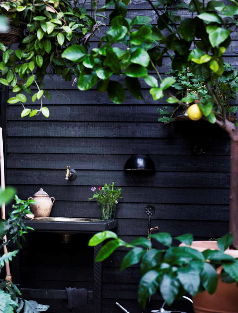 Une maison de campagne en blanc et noir sur fond de verdure // Bardage noir