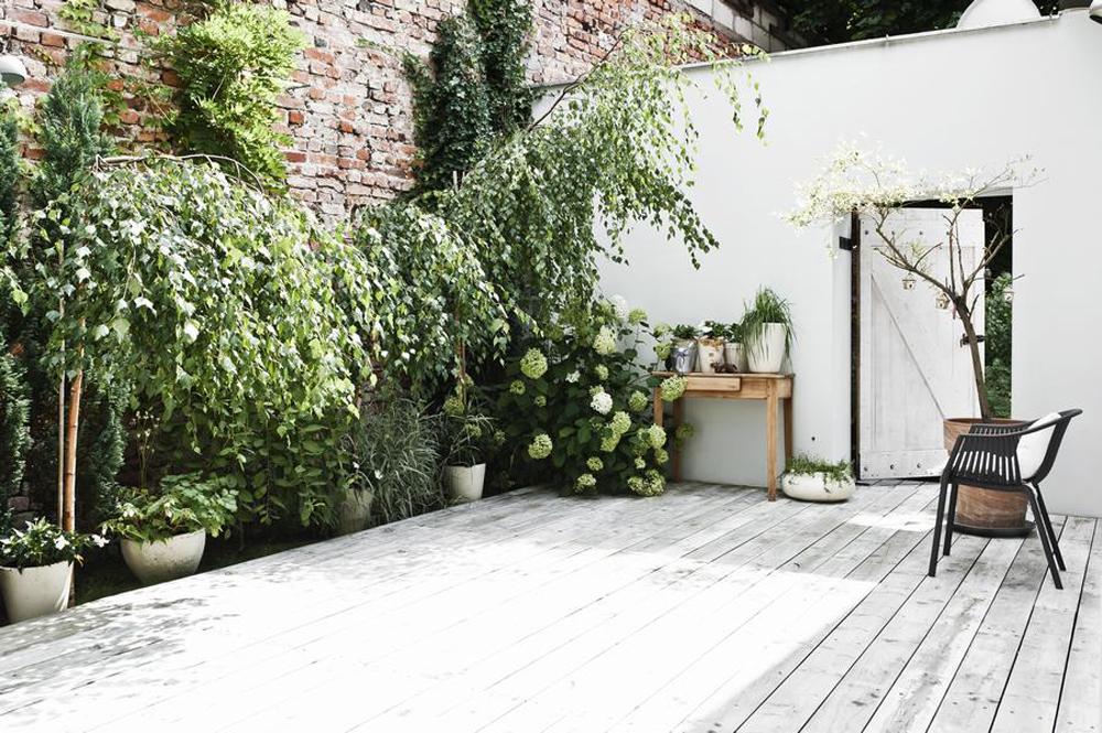 Une cour avec terrasse en bois et profusion de plantes