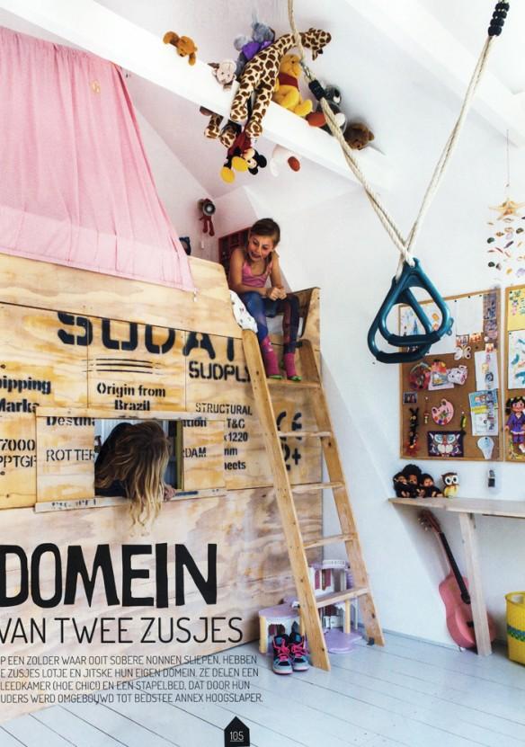 Zolder Kamer || Chambre d'enfants bohème avec lit cabane en vieilles planches