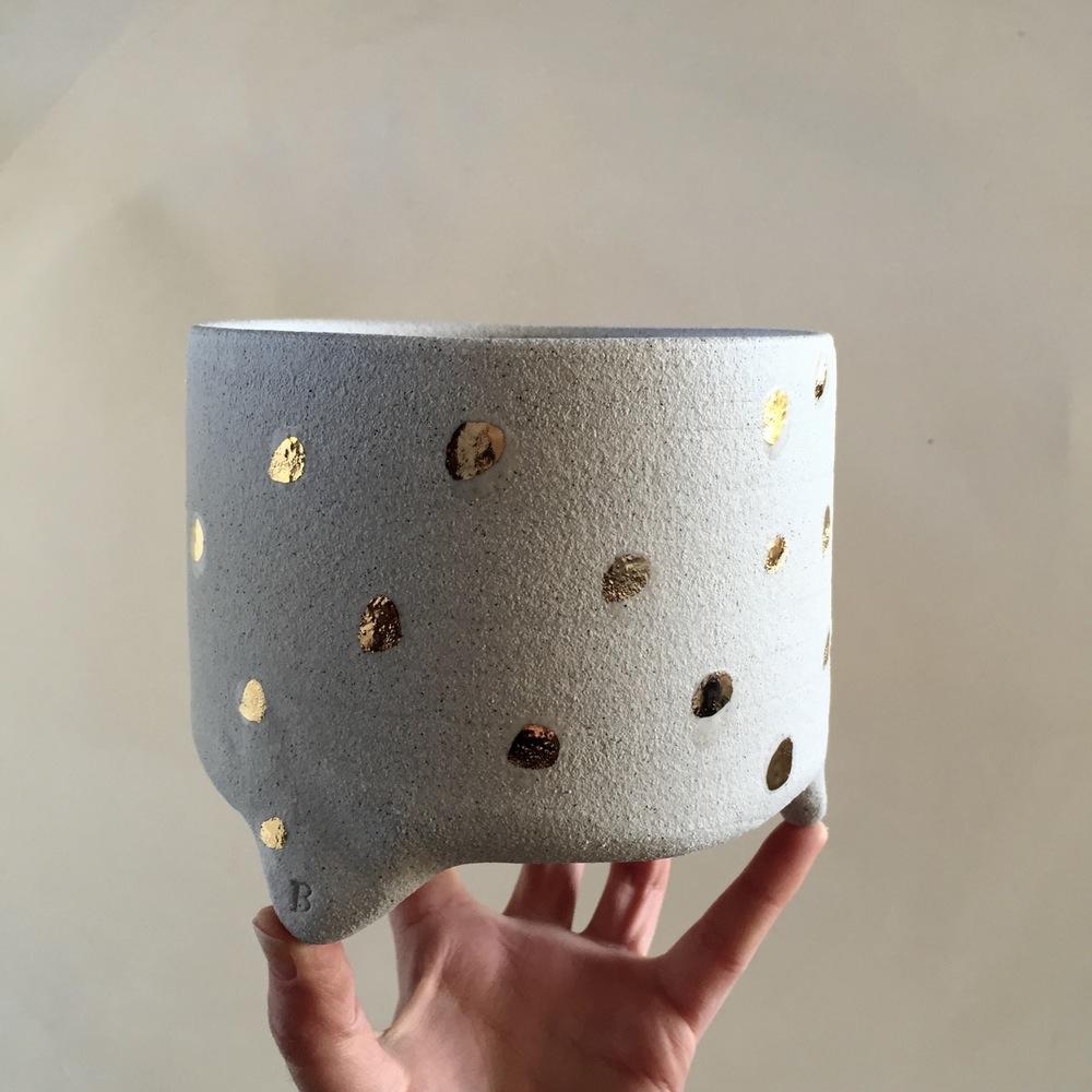 Bridget Bodenham ceramics - Large gold dotty tripod planter