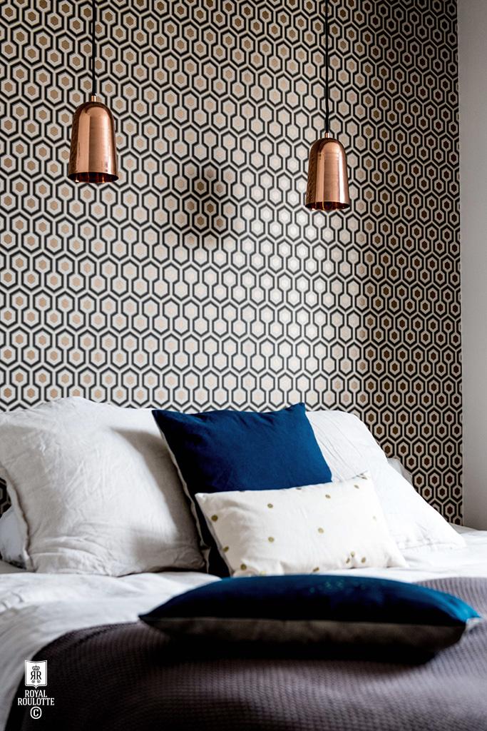 Royal Roulotte - Rénovation d'une maison à Fontainebleau || #papier-peint #hicks #hexagon