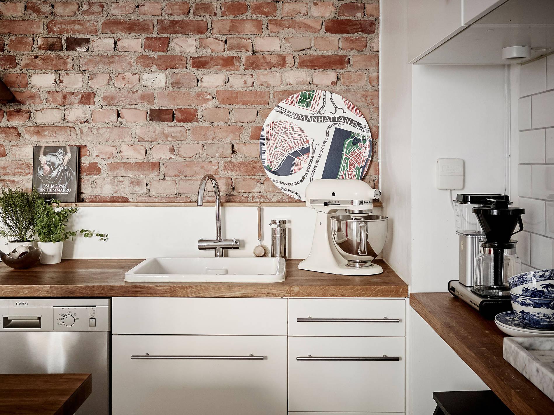 Appartement Nordhemsgatan 31 B_1 en vente sur Stadshem || #cuisine #murs de #briques