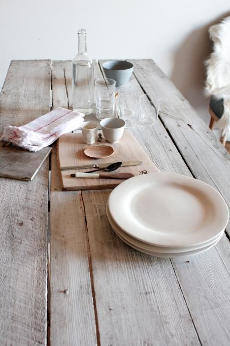 Kim white wash wood table setting