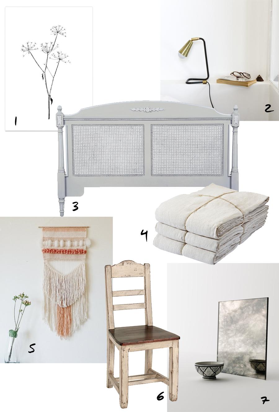 Mood board autour d'une tête de lit gustavien de la boutique Interior's