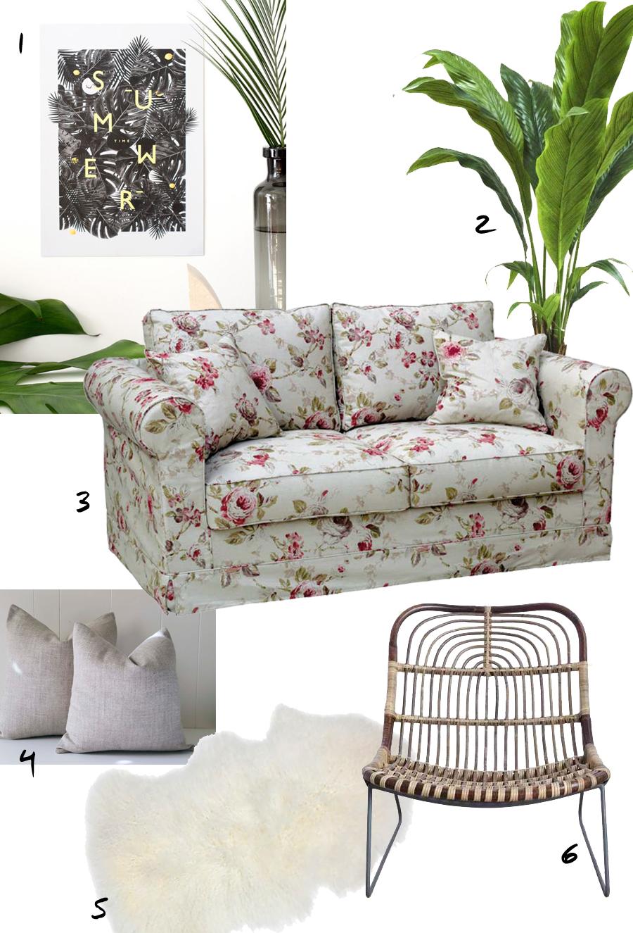 Mood board autour d'un canapé à fleurs Crowson de la boutique Interior's