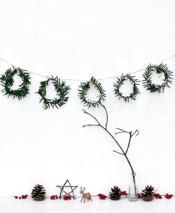 Décoration de noël naturelle à fabriquer || Mini couronnes de Noël par themerrythought