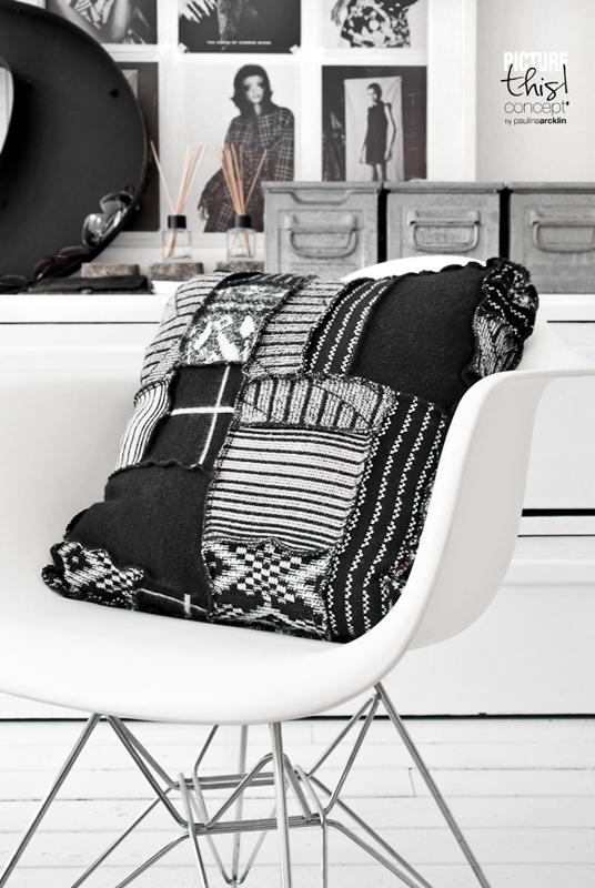 Paulina Arcklin Coussin en patchwork noir et blanc