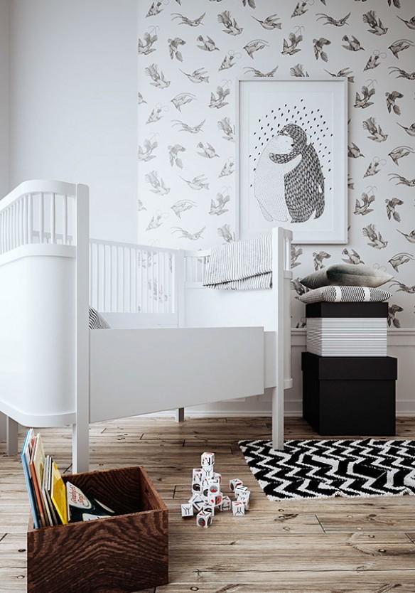 Projet de chambre de bébé par Raya Todorova + Papier-peint enfant en noir et blanc