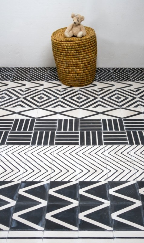 Collection de carreaux de ciment en noir et blanc Marrakech Design