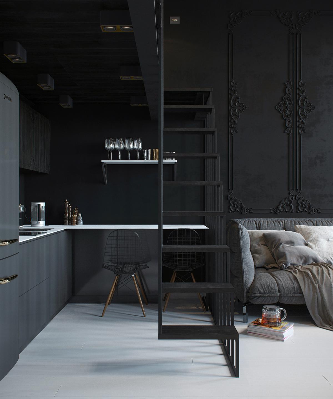 Moulures et Boiseries noires - Mini studio Staninka2