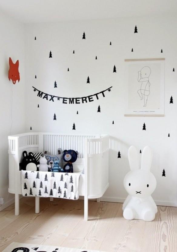 Chambre de bébé blanche et noirChambre de bébé blanche et noir