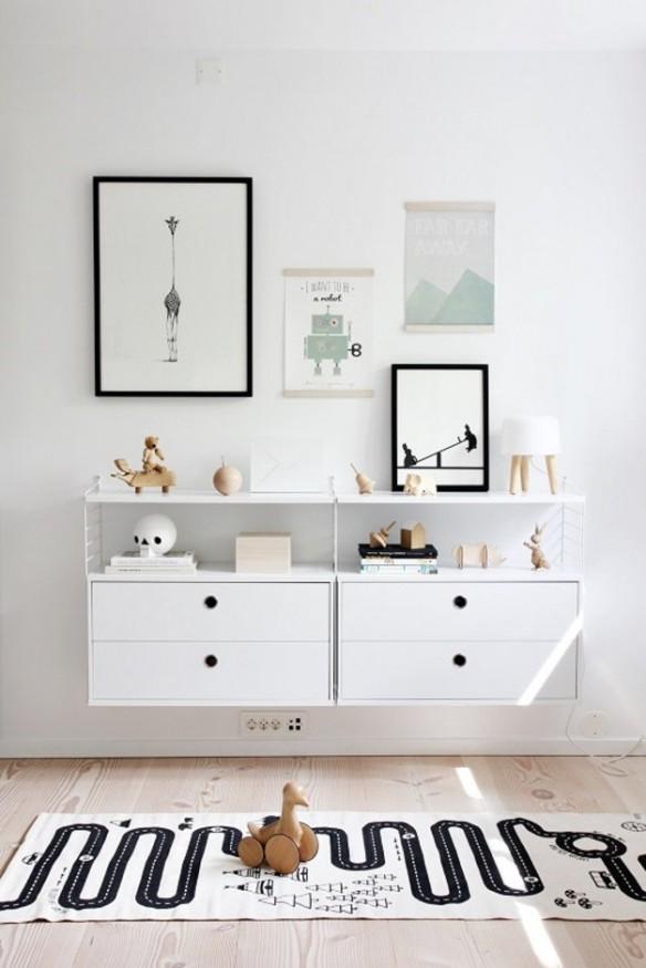 Chambre de bébé blanche et noir