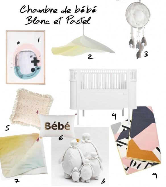 Sélection shopping pour chambre de bébé blanc et pastel