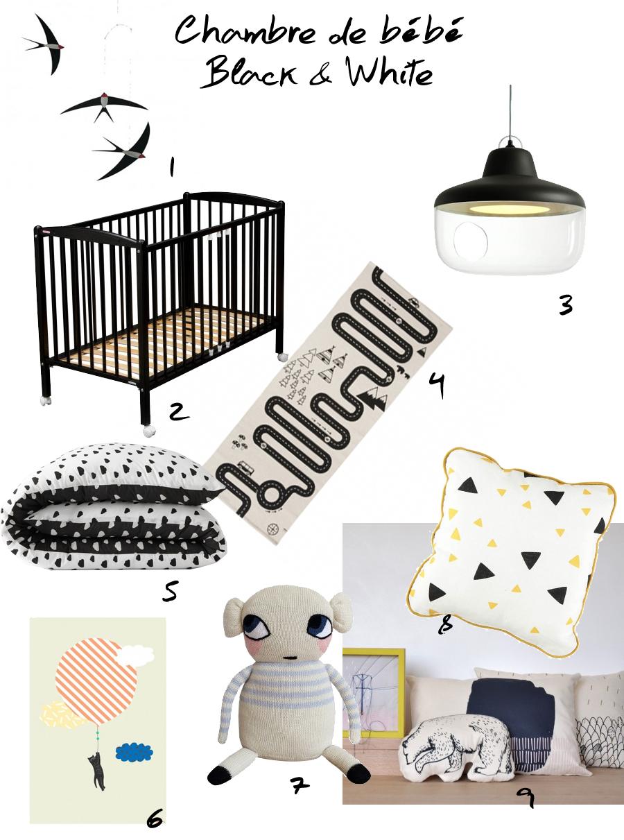 Sélection shopping pour chambre de bébé blanc et noir