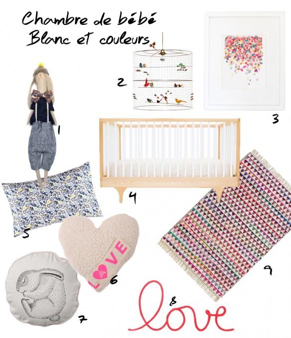 Sélection shopping pour chambre de bébé blanc et couleurs