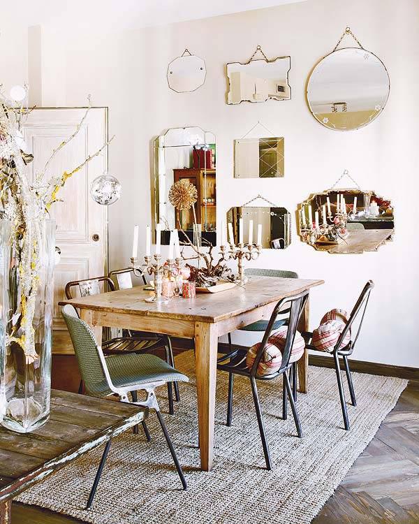 La bonne idée déco : décorer ses murs par une série de miroirs vintage