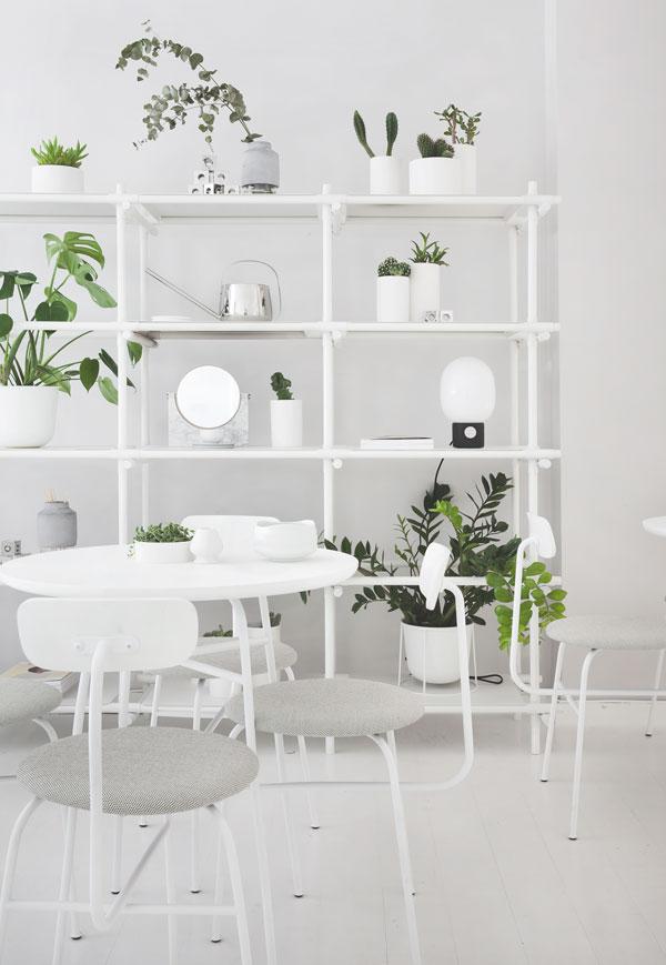 Déco blanche et plantes vertes byoh matcha bar par norm architecture